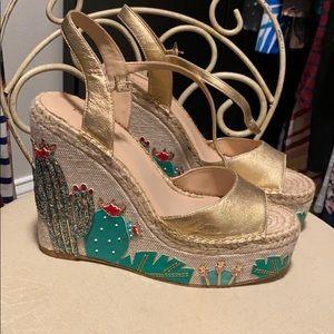 kate spade Cactus/ Succulent wedge high heel